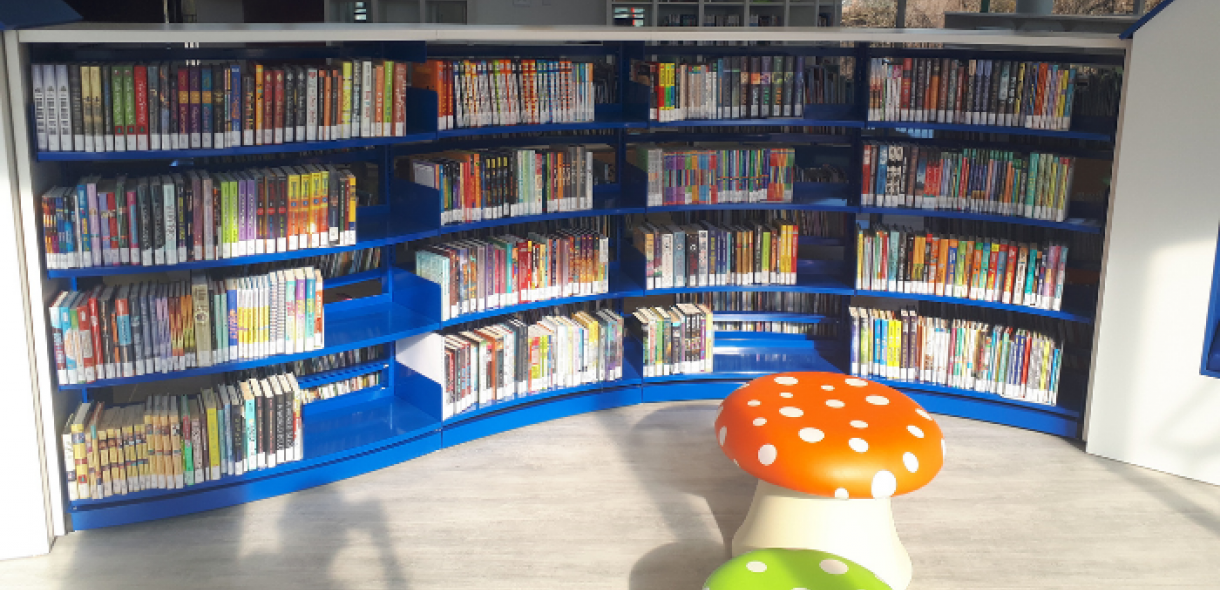 Curved bookshelves full of books. With colourful toad stools for sitting on in front.